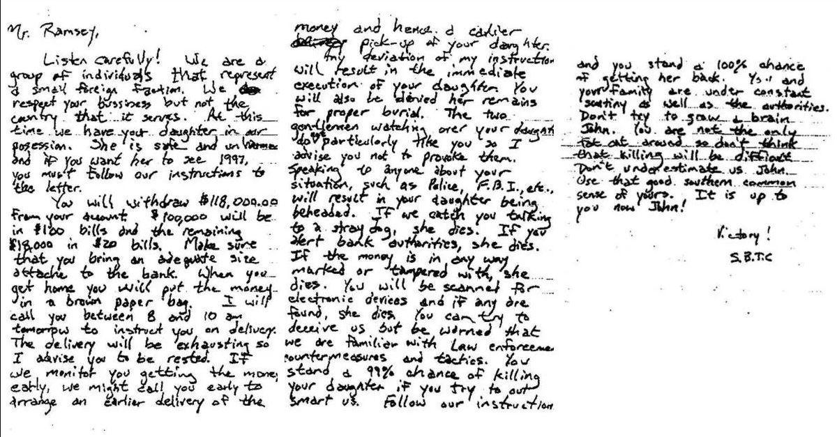 Писмото с искане за откуп е необичайно дълго