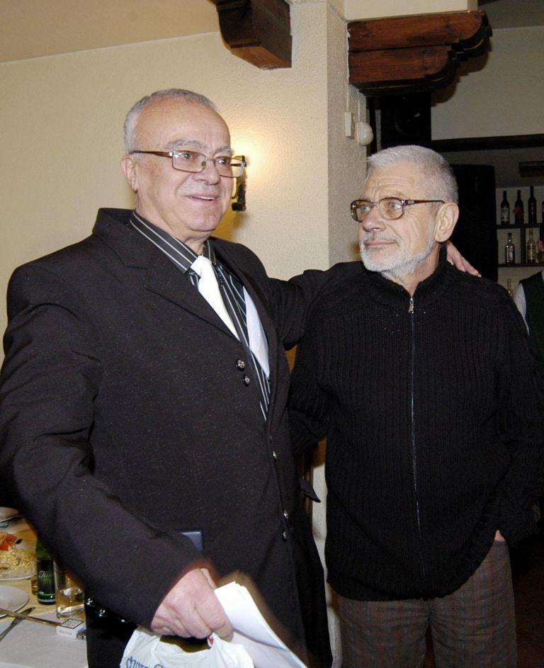 """1 март 2006 г.- Проф. Вучков с поета Недялко Йорданов на честването на 70-годишния си юбилей и 3 години от старта на предаването """"Размисли и страсти"""" по телевизия СКАТ"""