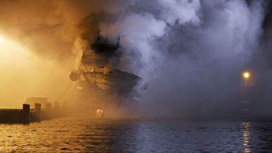 Голям пожар избухна на руски кораб край бреговете на Норвегия (видео)