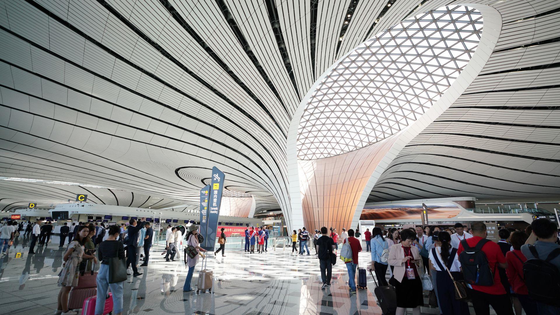 Вижте новото ултрамодерно летище на Пекин  (снимки)