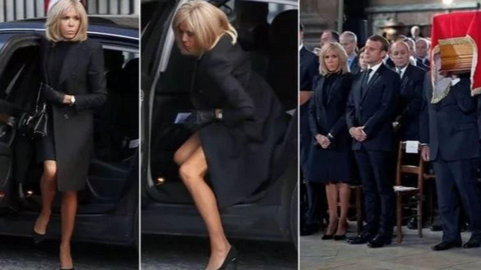 Брижит Макрон показа значителна част от краката си на погребението на Жак Ширак