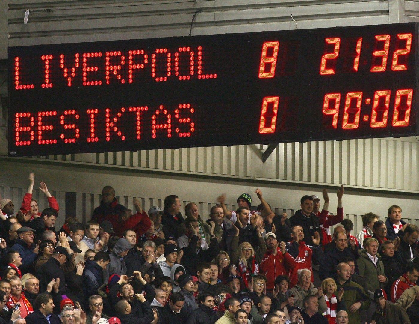 """Таблото с паметното 8:0 на """"Анфийлд"""" след Ливърпул - Бешикташ през 2008 г."""