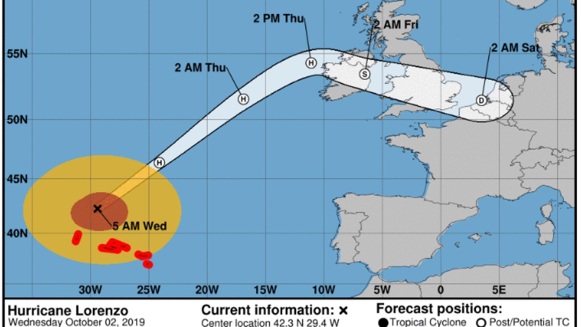 Лоренцо на път към Ирландия, ще донесе порои и ураганни ветрове