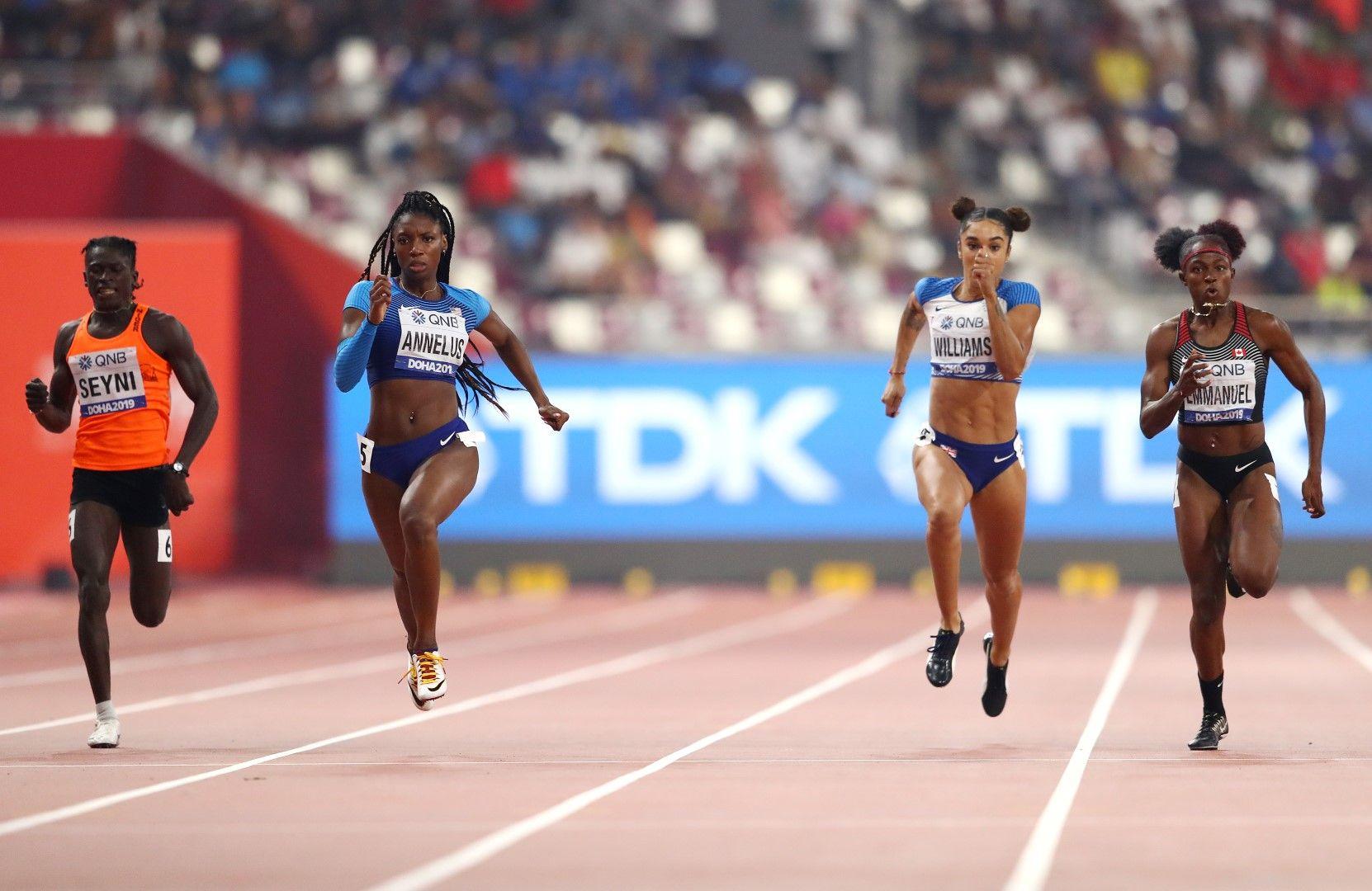 Аминату Сейни (крайната вляво) не успя да влезе във финала на 200 м