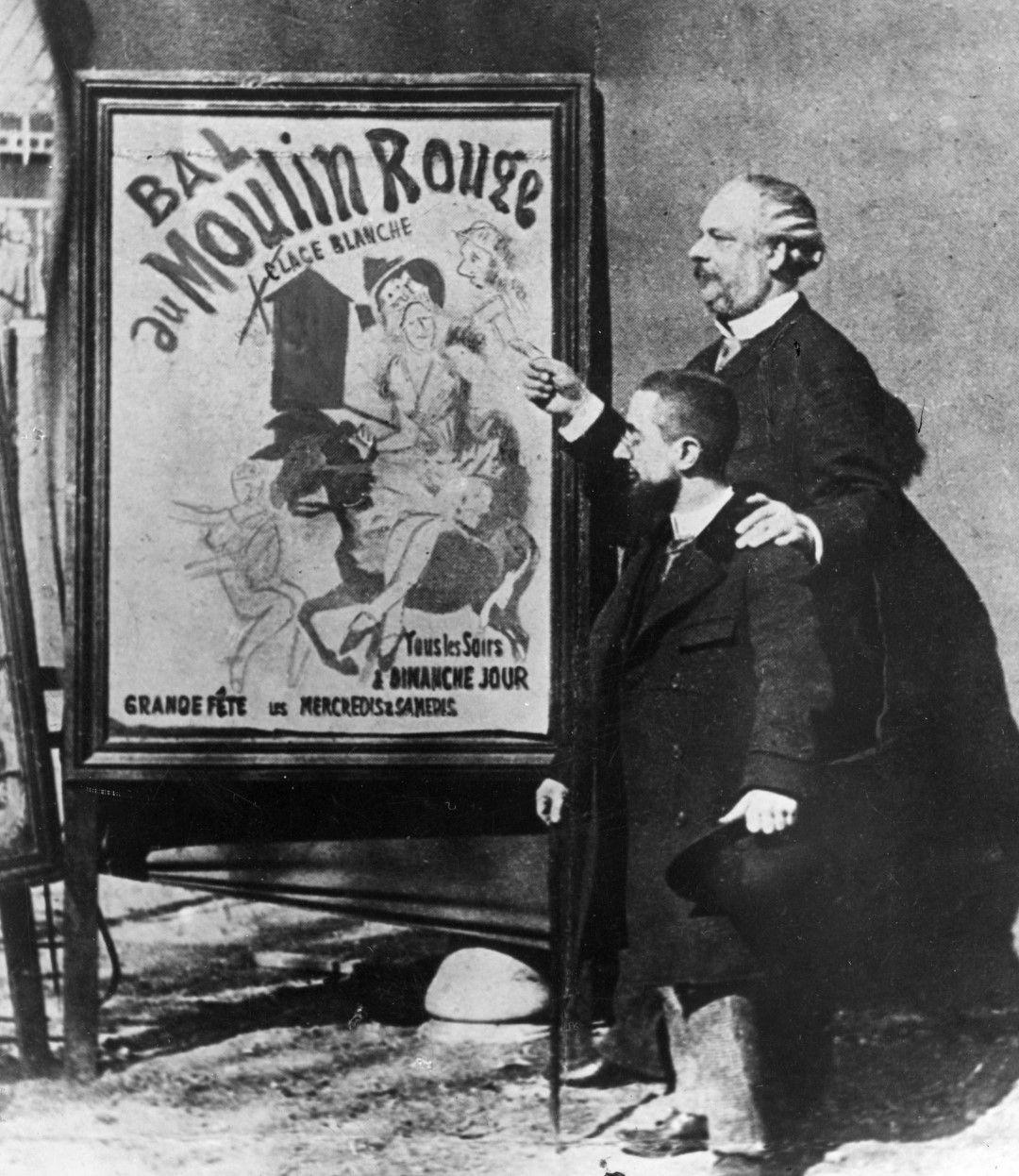 """Анри Тулуз-Лотрек и директорът на """"Мулен руж"""" - Тремолада, пред един от известните плакати на художника"""