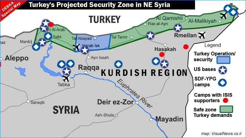 """Карта на операция """"Извор на мира"""" в Северна Сирия и на замислената от Турция зона за сигурност в региона"""