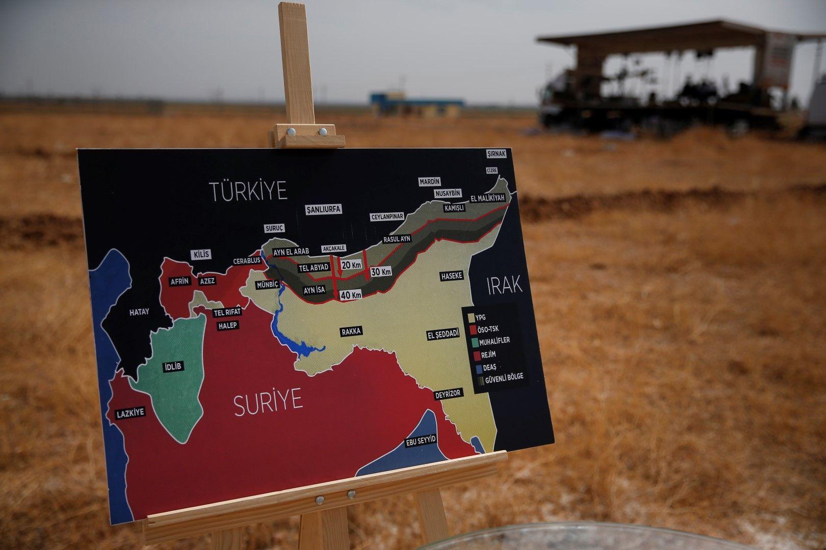 """Карта на турската военна операция """"Извор на мира"""" в Северна Сирия"""