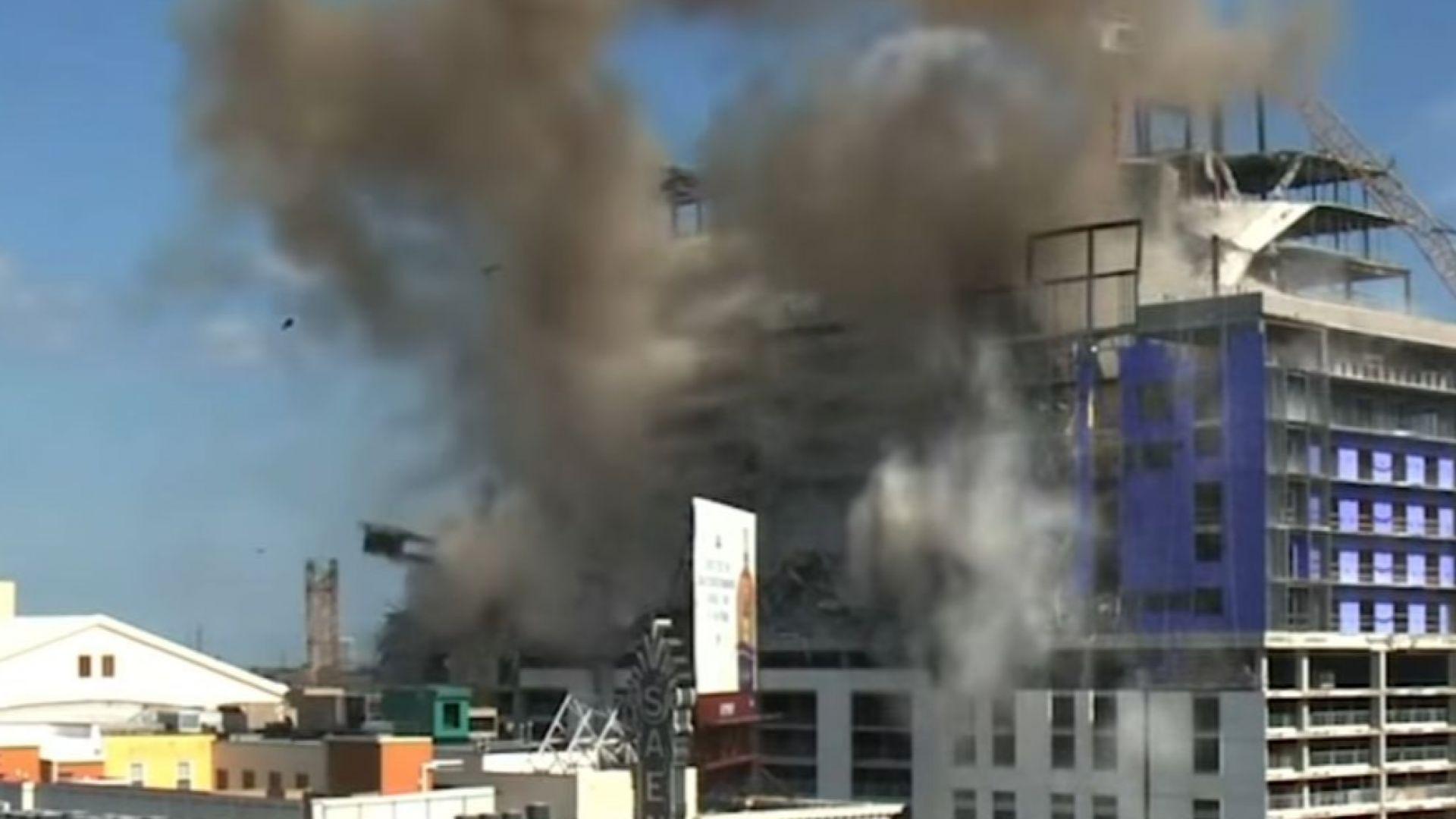 Взривиха два строителни крана на частично разрушен хотел в центъра на Ню Орлиънс (видео)