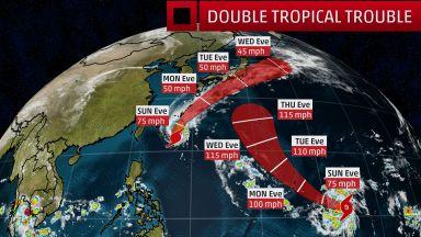 Други два тайфуна едновременно на път към Япония