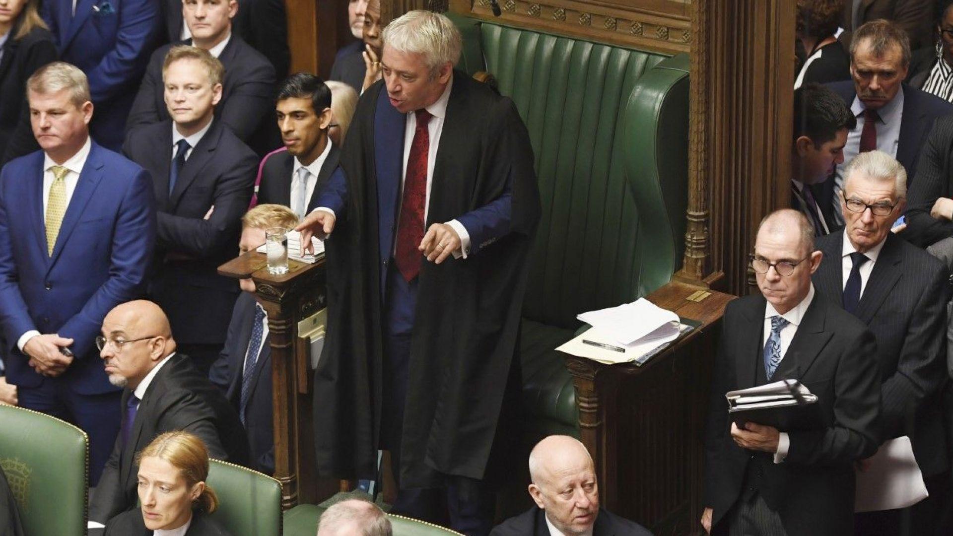 Председателят на Камарата на общините Джон Бъркоу заяви на британското