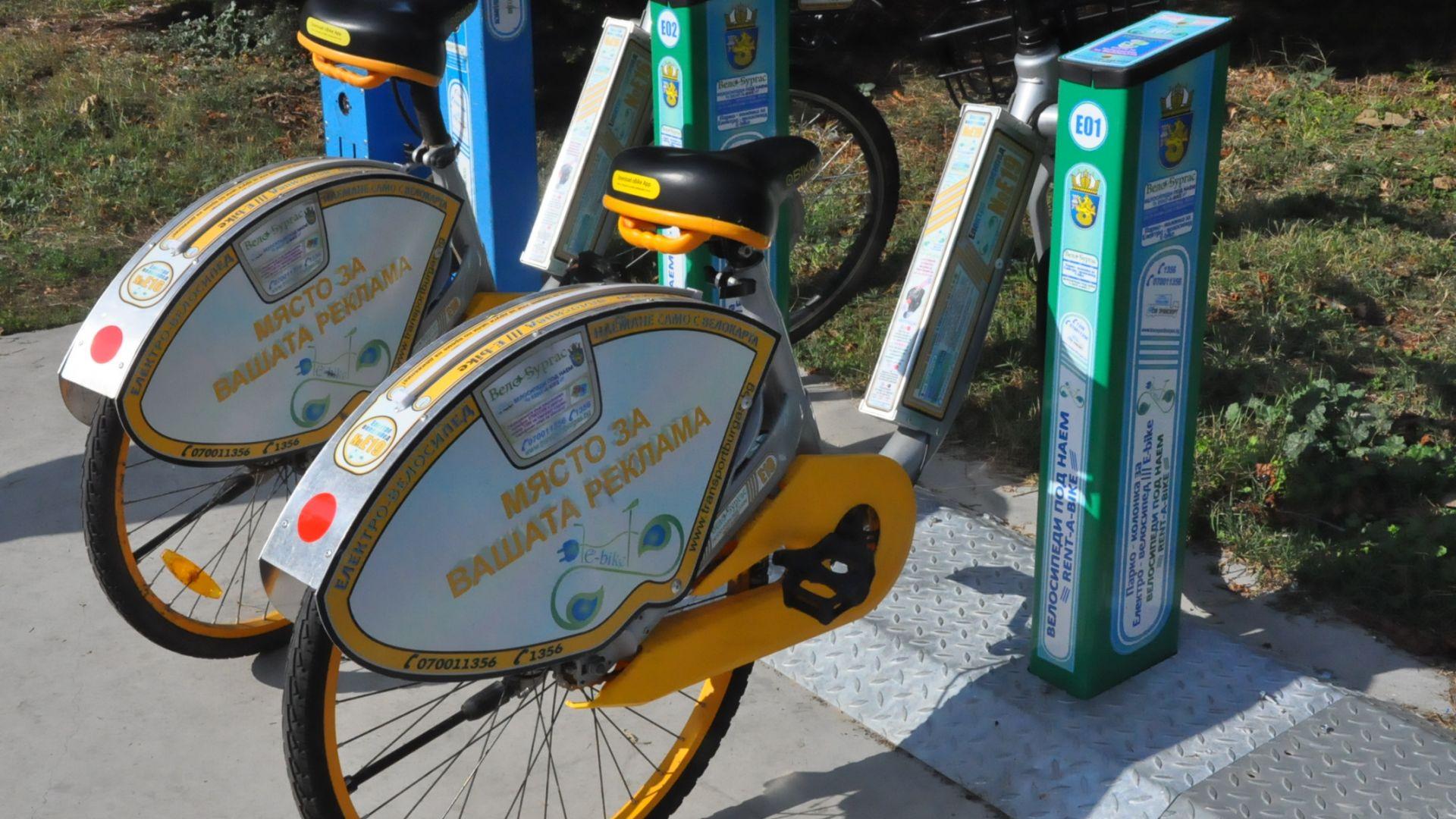 Нови стоянки за електрически велосипеди под наем в Бургас (снимки)