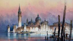 Архитектура, представена с акварелна живопис