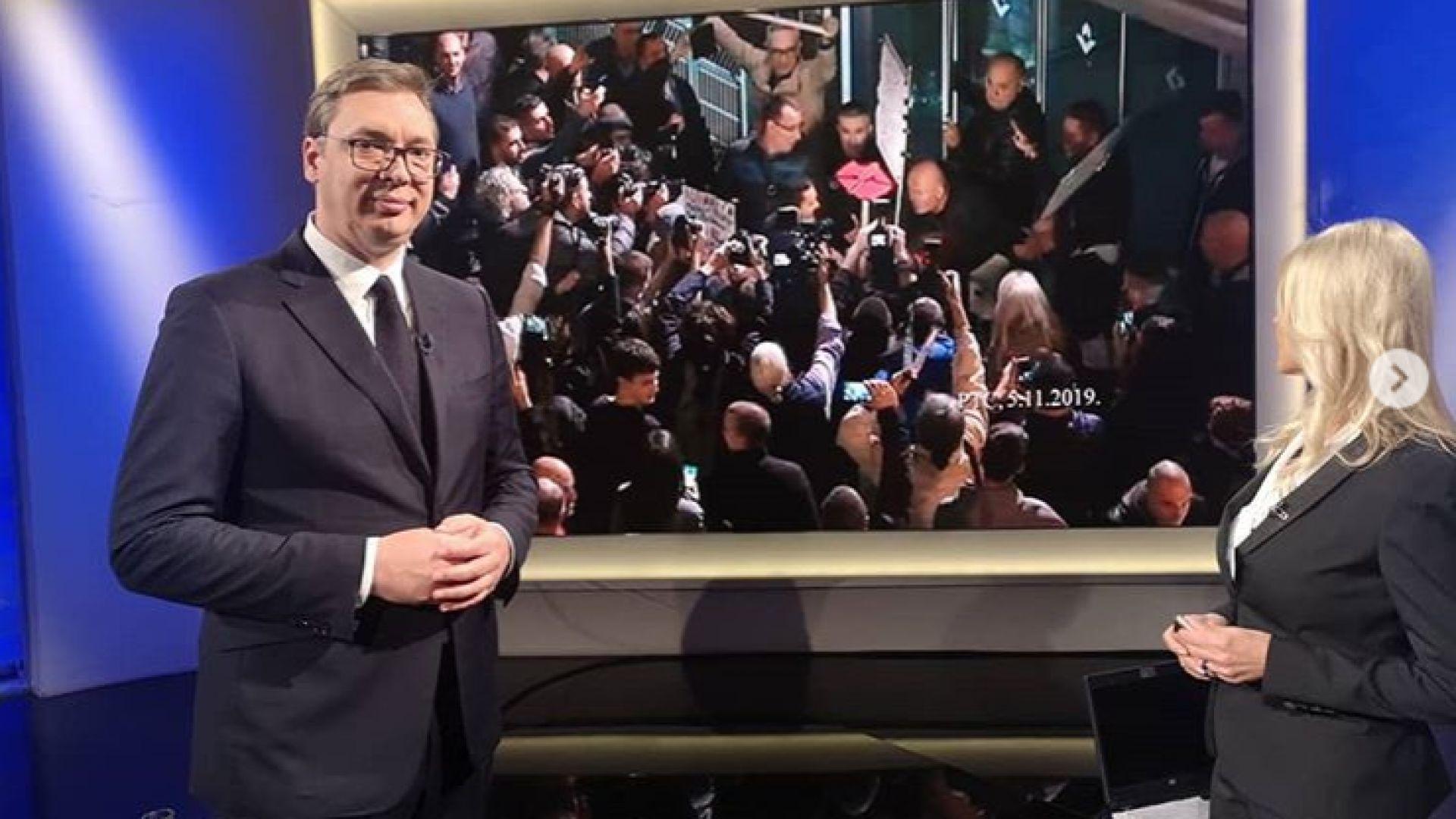 Сръбският президент Александър Вучич се наложи да използва вчера страничен