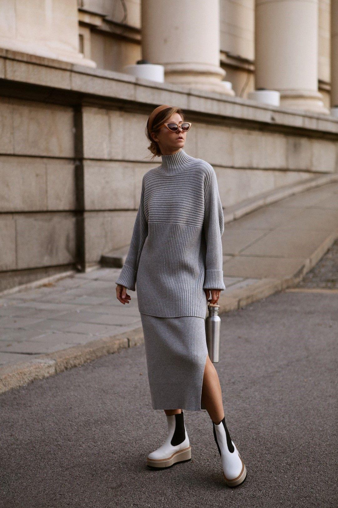Палто Molly Bracken, рокля-пуловер BOSS, обувки Dr. Martens от магазини Collective.