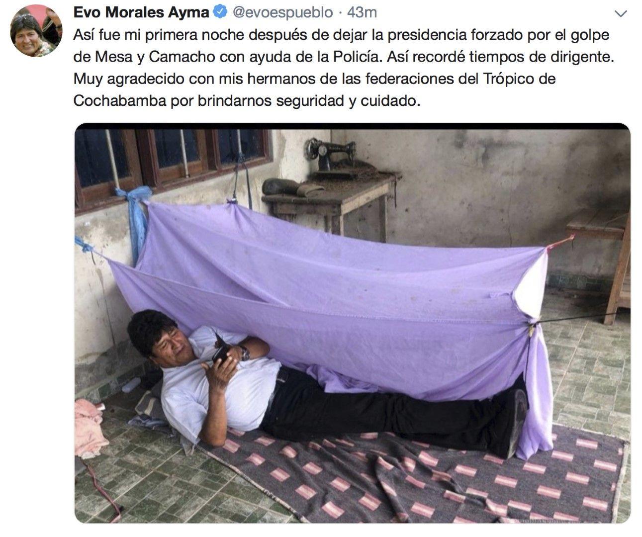 Така прекарах първата нощ, след като бях принуден да се откажа от президентския пост заради държавния преврат, написа в Туитър Ево Моралес