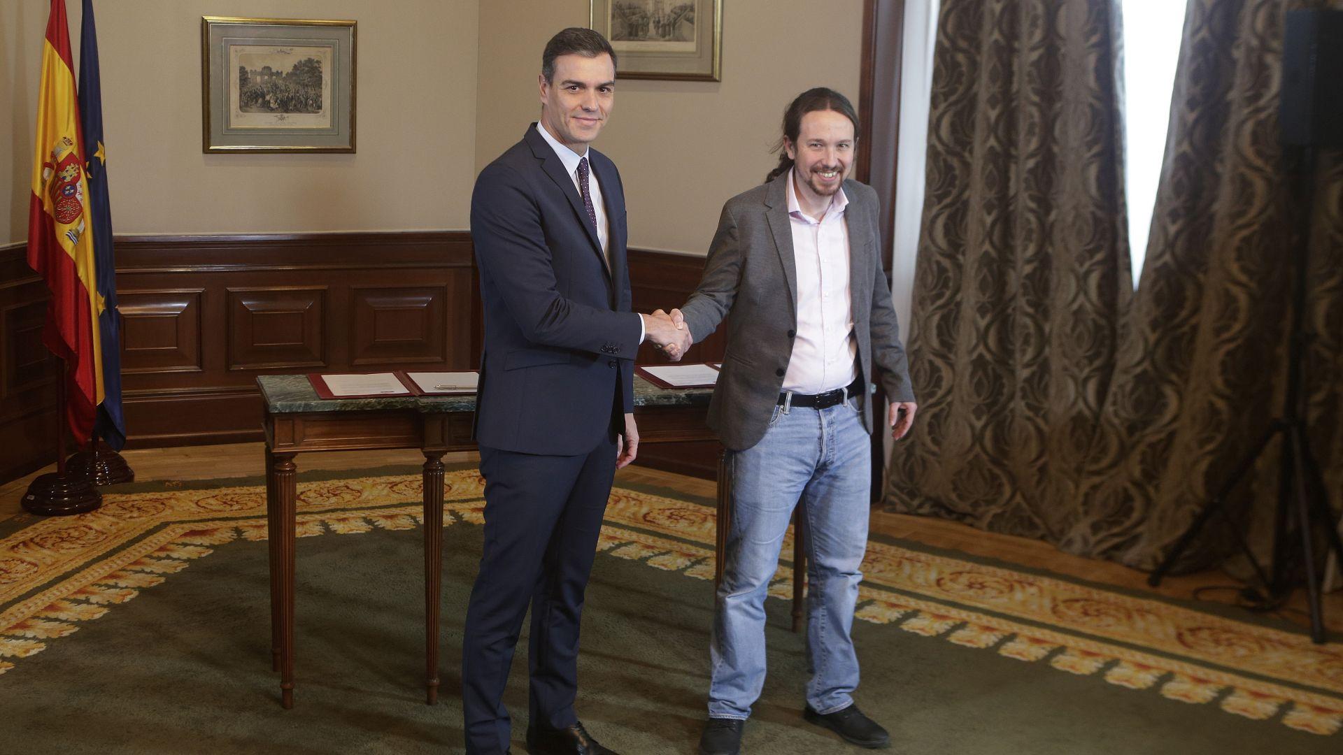 Испанските социалисти и радикалната левица се споразумяха за коалиционно правителство