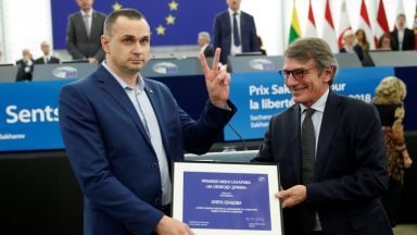 "Олег Сенцов получи в Страсбург своята награда ""Сахаров"" за 2018 г."
