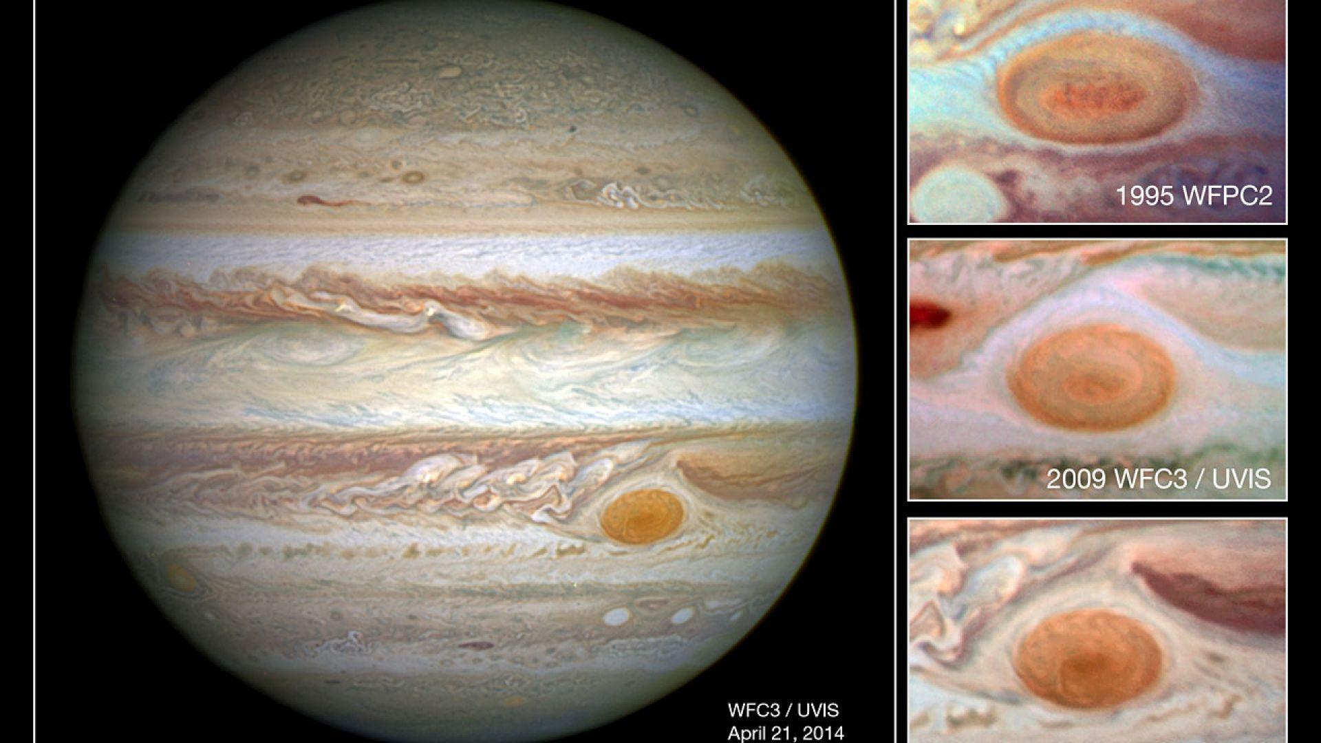 Голямото червено петно на Юпитер се променя