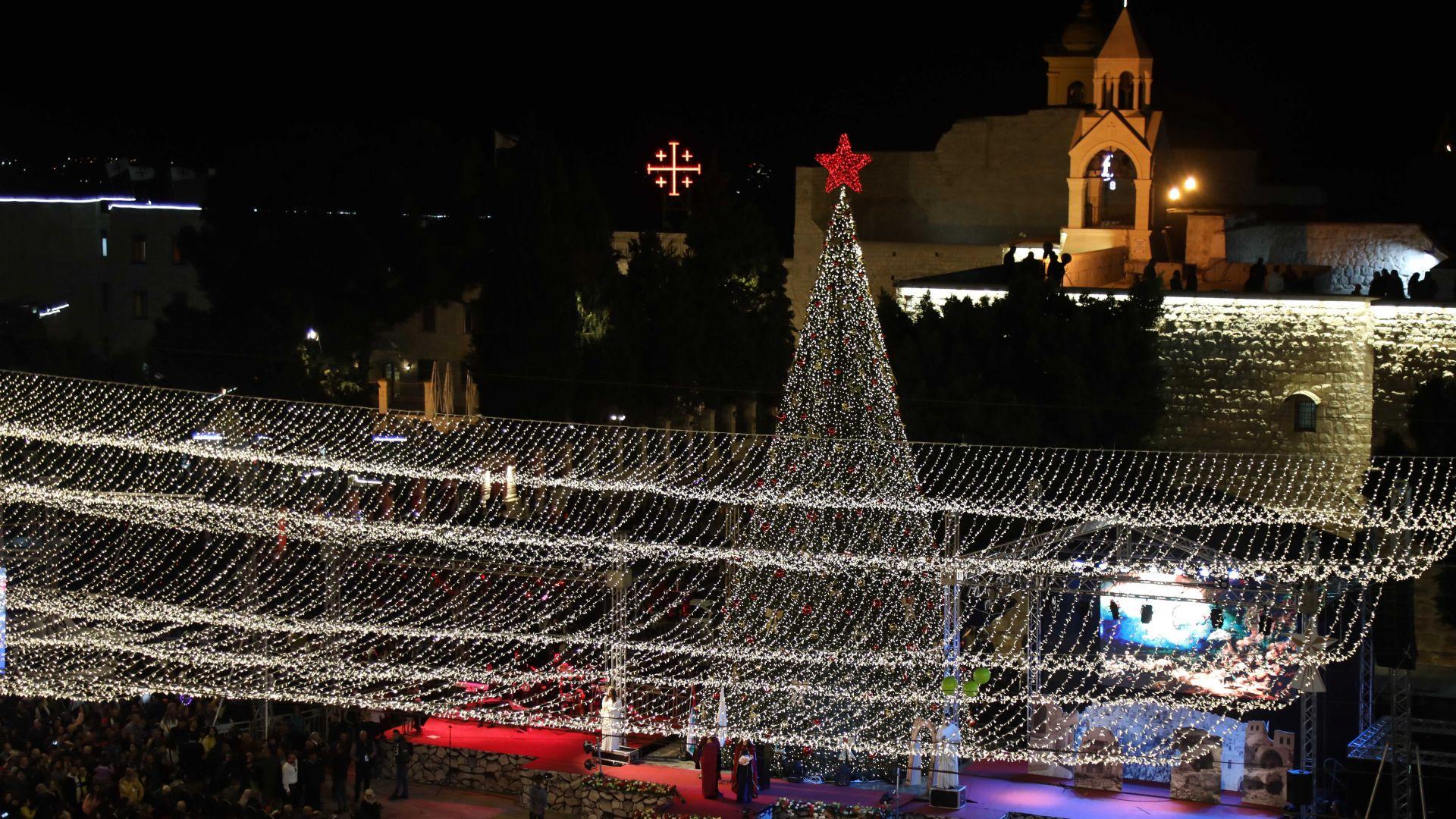 Коледната елха грейна във Витлеем (снимки и видео)