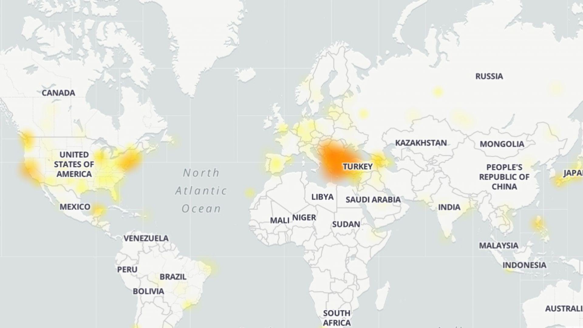 Карта на местата, в които YouTube е недостъпен към този момент