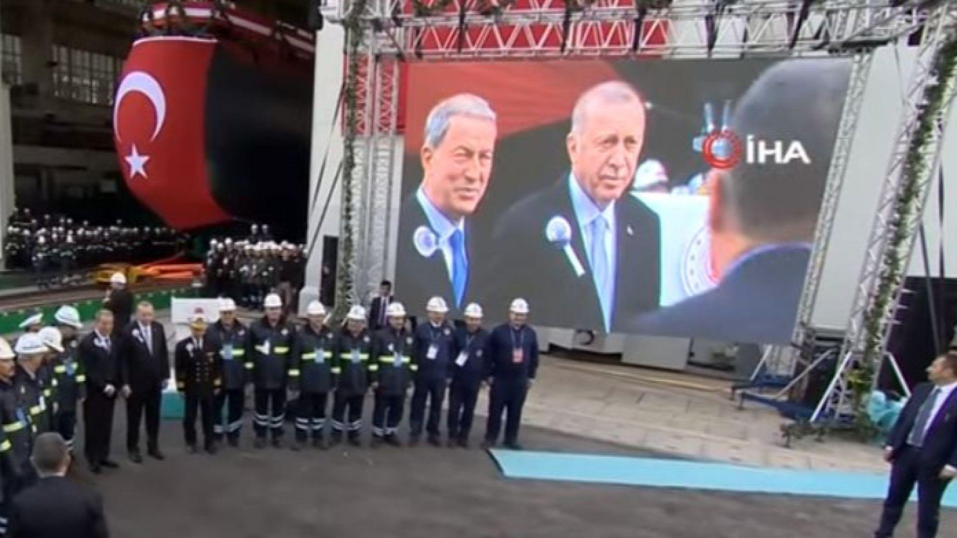 Ердоган пусна първата сглобена в Турция подводница тип 214 TN (видео)