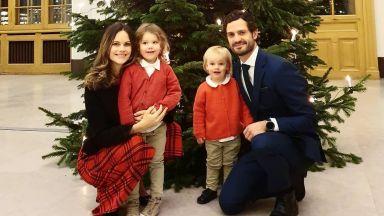 Шведската принцеса София с визия като на Кейт на коледна семейна снимка