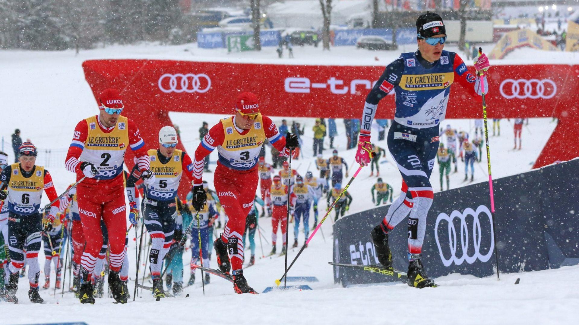 Лидерите за световната купа в ски бягането се сдърпаха като първокласници