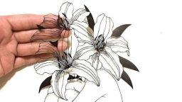 Поетични илюстрации, изрязани деликатно от лист хартия