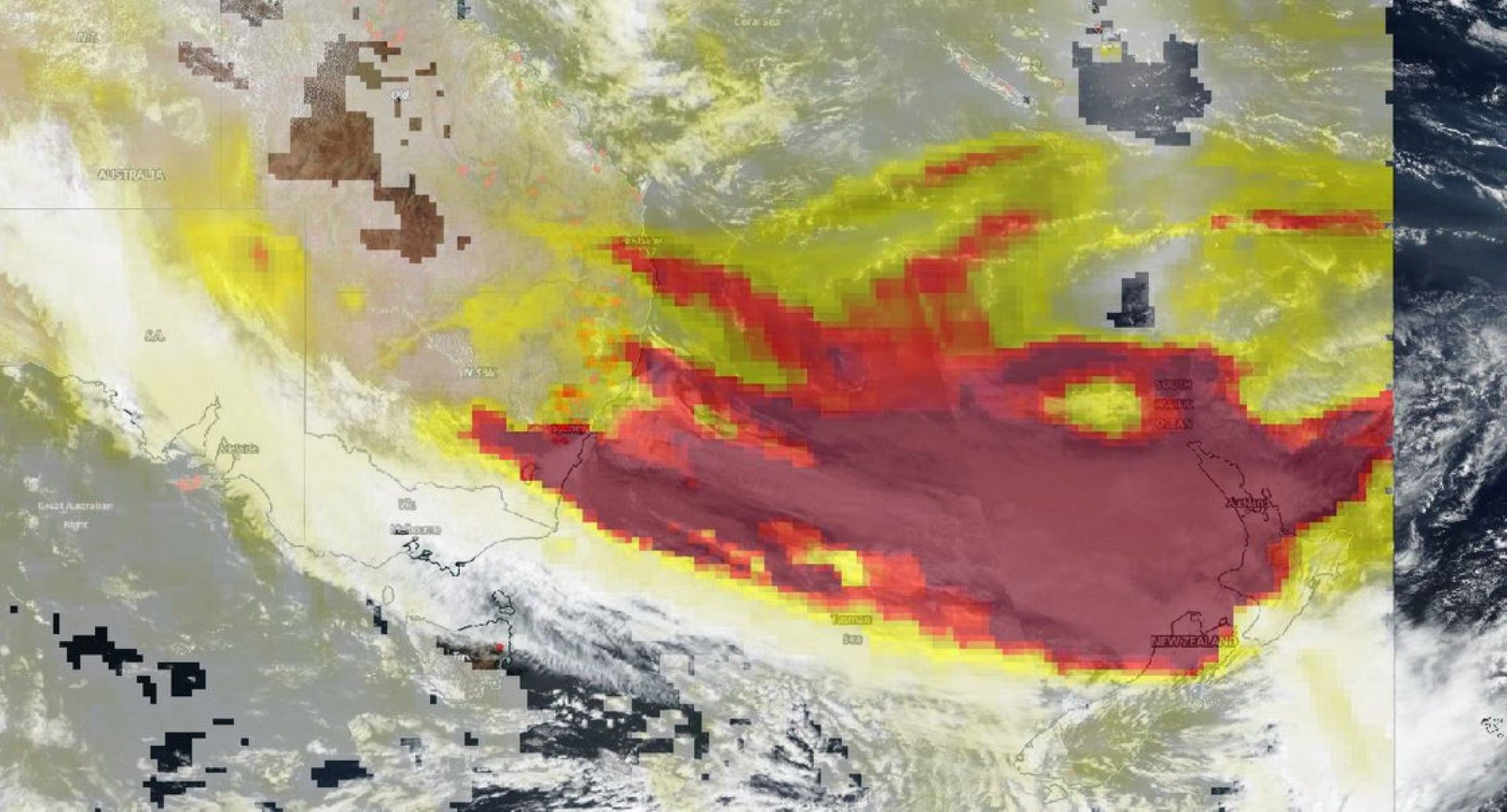 Сателитното изображение на Suomi-NPP от 4 януари 2020 г. показва аерозолите в димните потоци от пожарите в Австралия