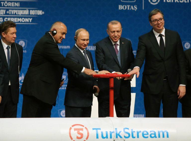 """8 януари 2020 г., Истанбул. Тържествена церемония по пускането на """"Турски поток"""", в която участват Бойко Борисов, Владимир Путин, Реджеп Тайип Ердоган и Александър Вучич"""