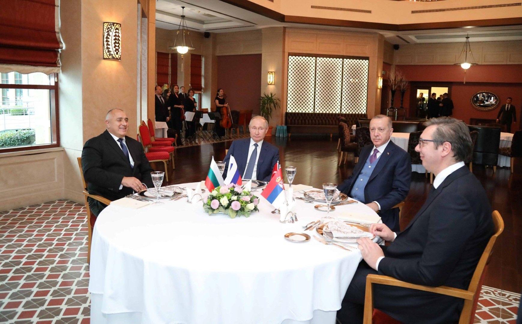 "Бойко Борисов, Владимир Путин, Реджеп Тайип Ердоган и Александър Вучич дадоха старт на ""Турски поток"""