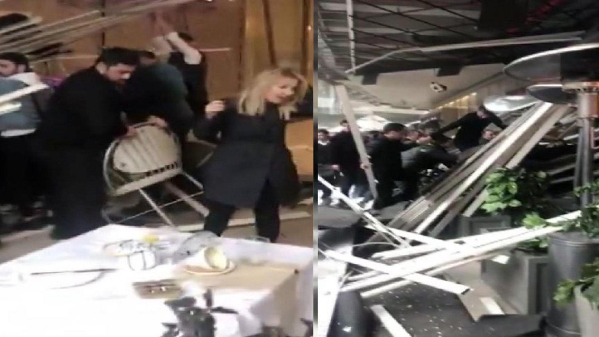 Покрив на кафене в истанбулски мол се срути (видео)