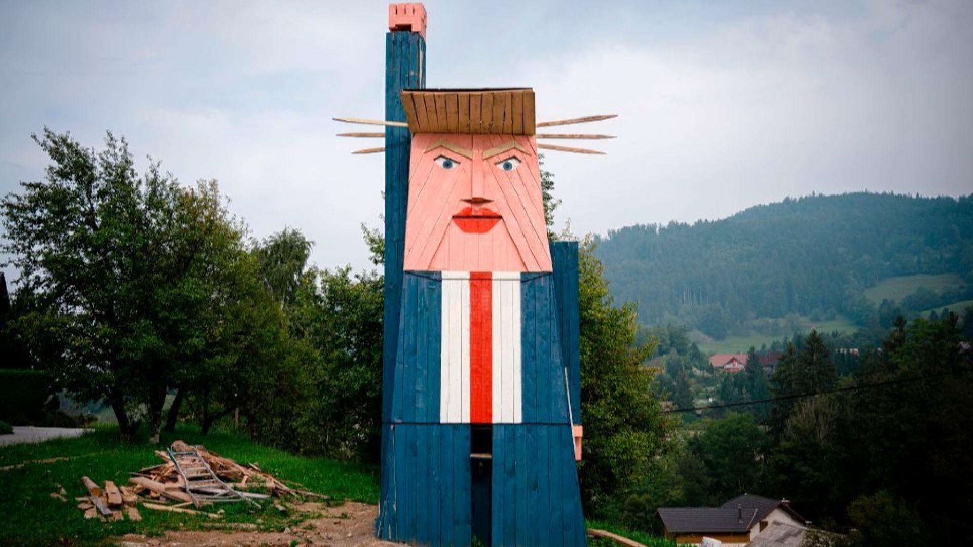 Изгориха дървена статуя на Тръмп в Словения