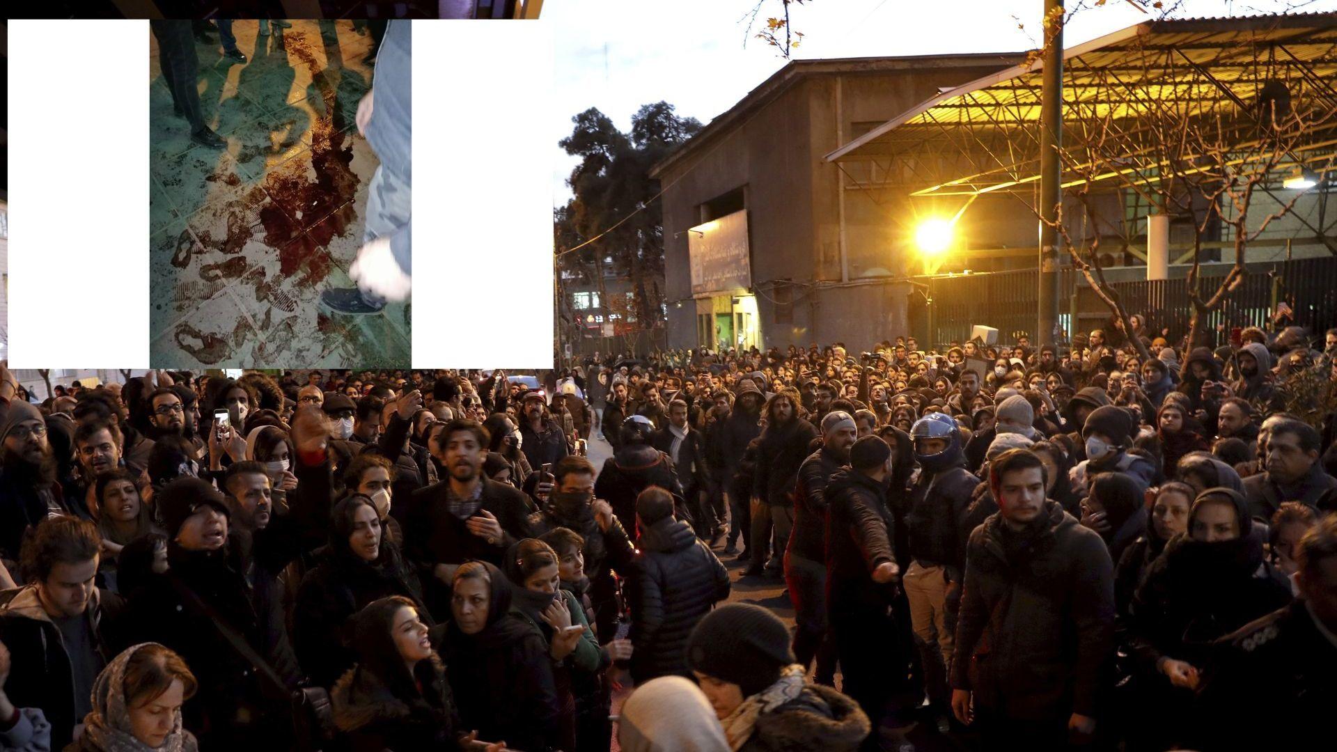 Записи показват как властите в Иран стрелят с бойни патрони и сълзотворен газ срещу протестиращи