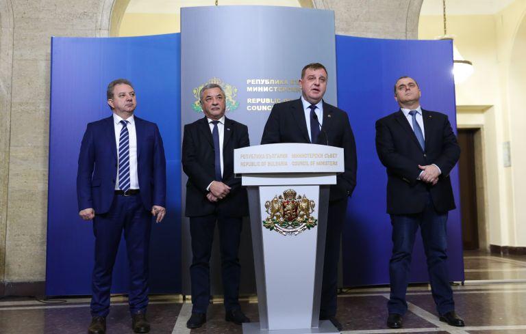 Ръководството на Обединени патриоти - Борис Ячев, Валери Симеонов, Красимир Каракачанов и Искрен Веселинов
