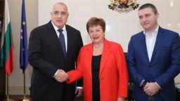 Премиерът и финансовият министър се срещнаха с Кристалина Георгиева