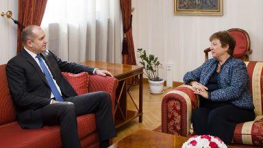 Президентът и управителят на БНБ се срещнаха с Кристалина Георгиева