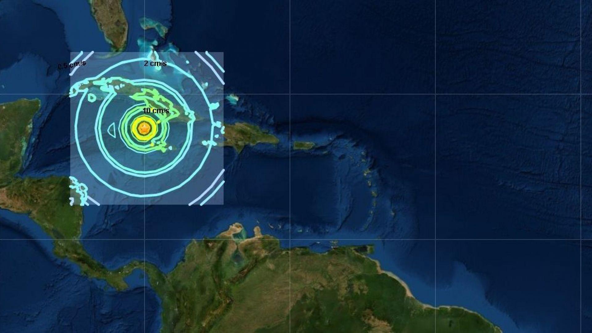 Земетресение с магнитуд 7,7 стана между Ямайка и Куба в