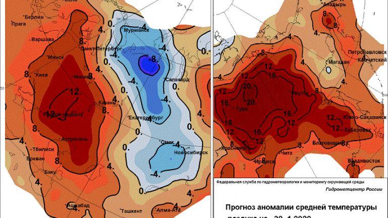 """Студеният клин е """"сирак"""" сред огромни територии в червено"""