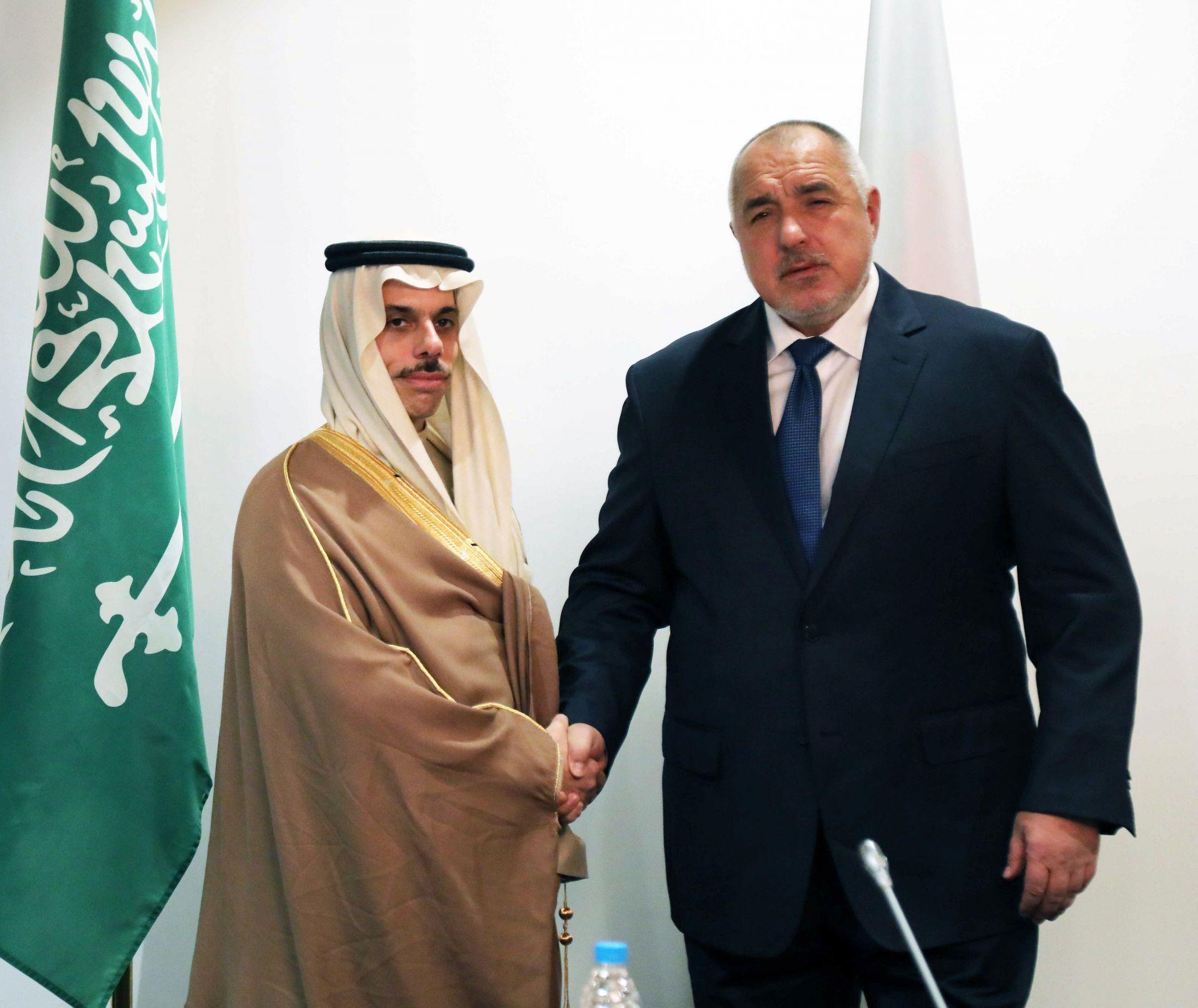 Министър-председателят Бойко Борисов и  Негово Височество принц Фейсал бин Фархан Ал Сауд.