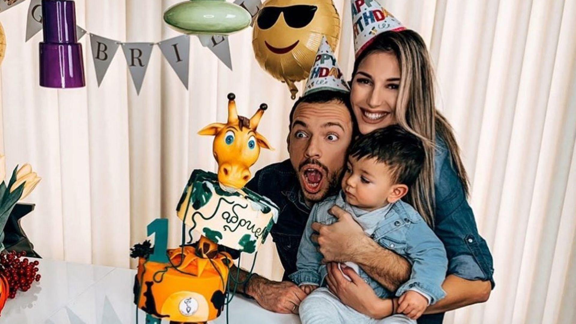 Синът на Алекс и Даниел Петканови отпазнува първи рожден ден с торта жираф