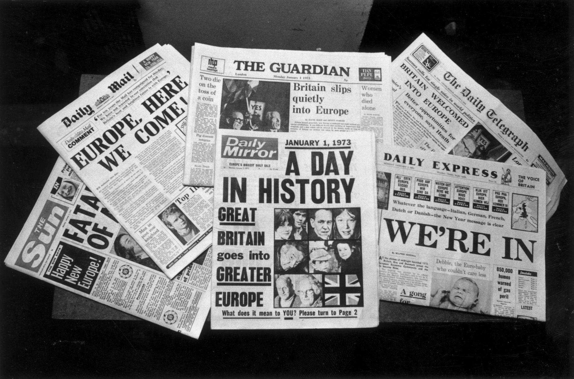 Вестниците в Лондон при приемането на Великобритания в ЕС
