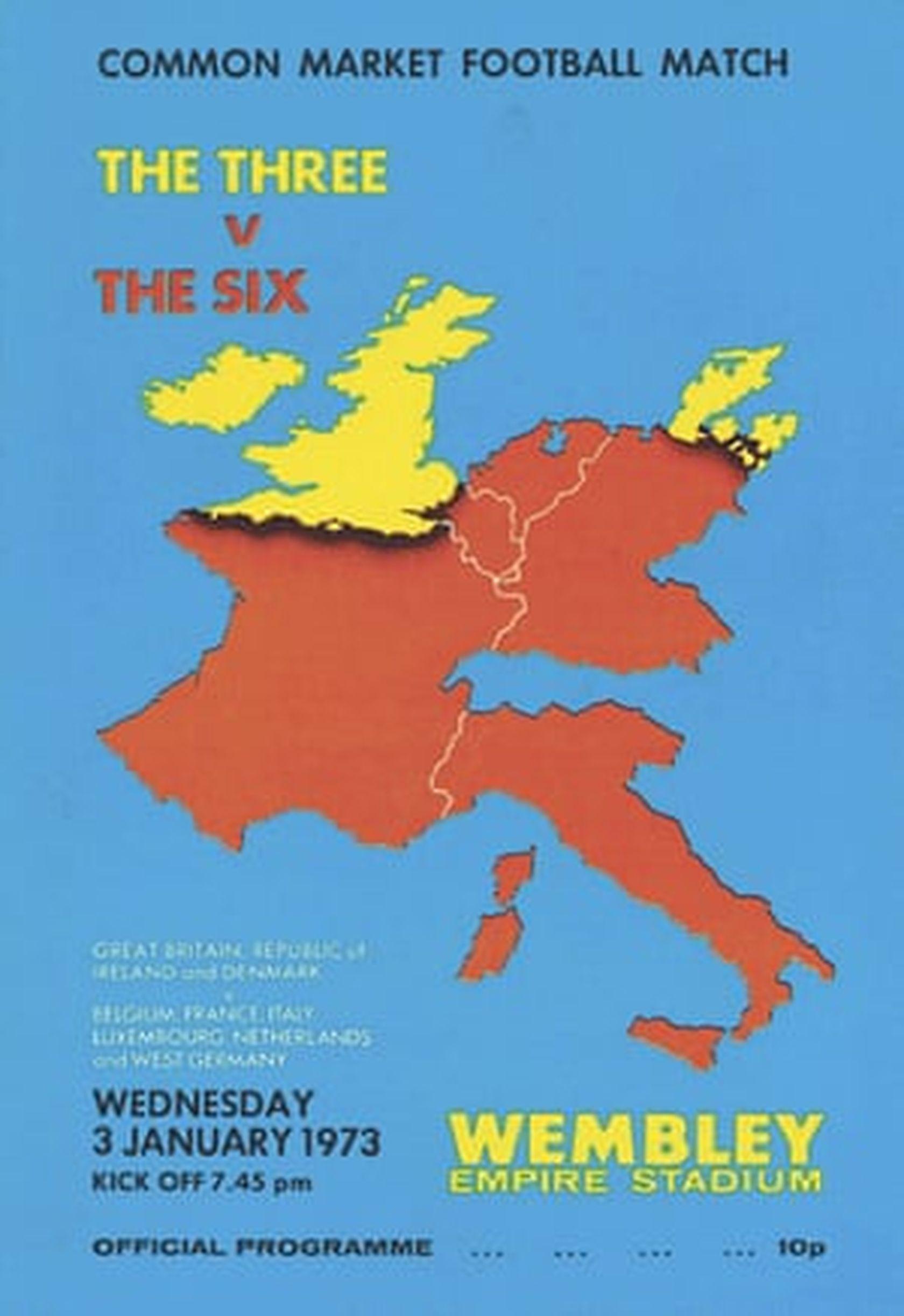 Програмата на мача за обединена Европа на 3 януари 1973 г.