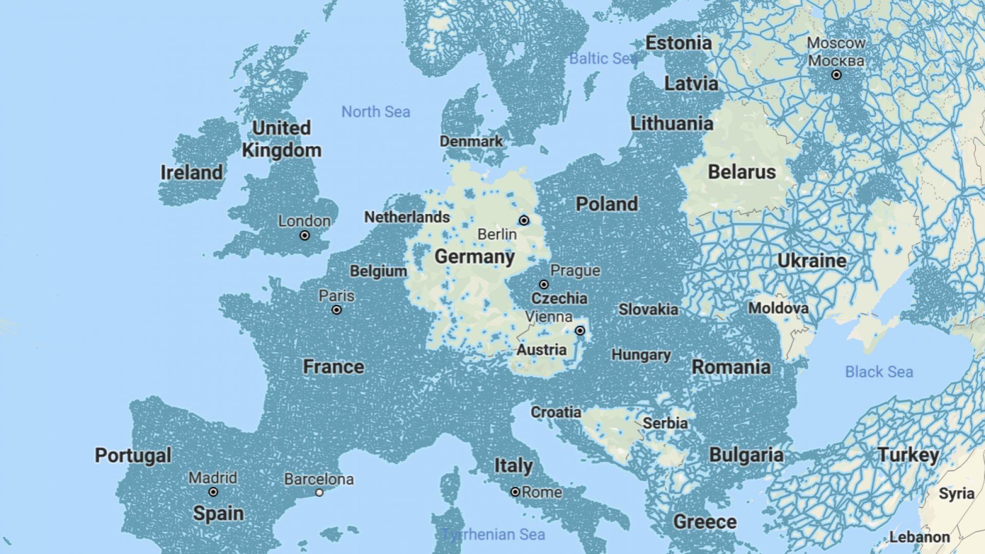 В синьо са всичките заснети градове, села и пътища в Европа