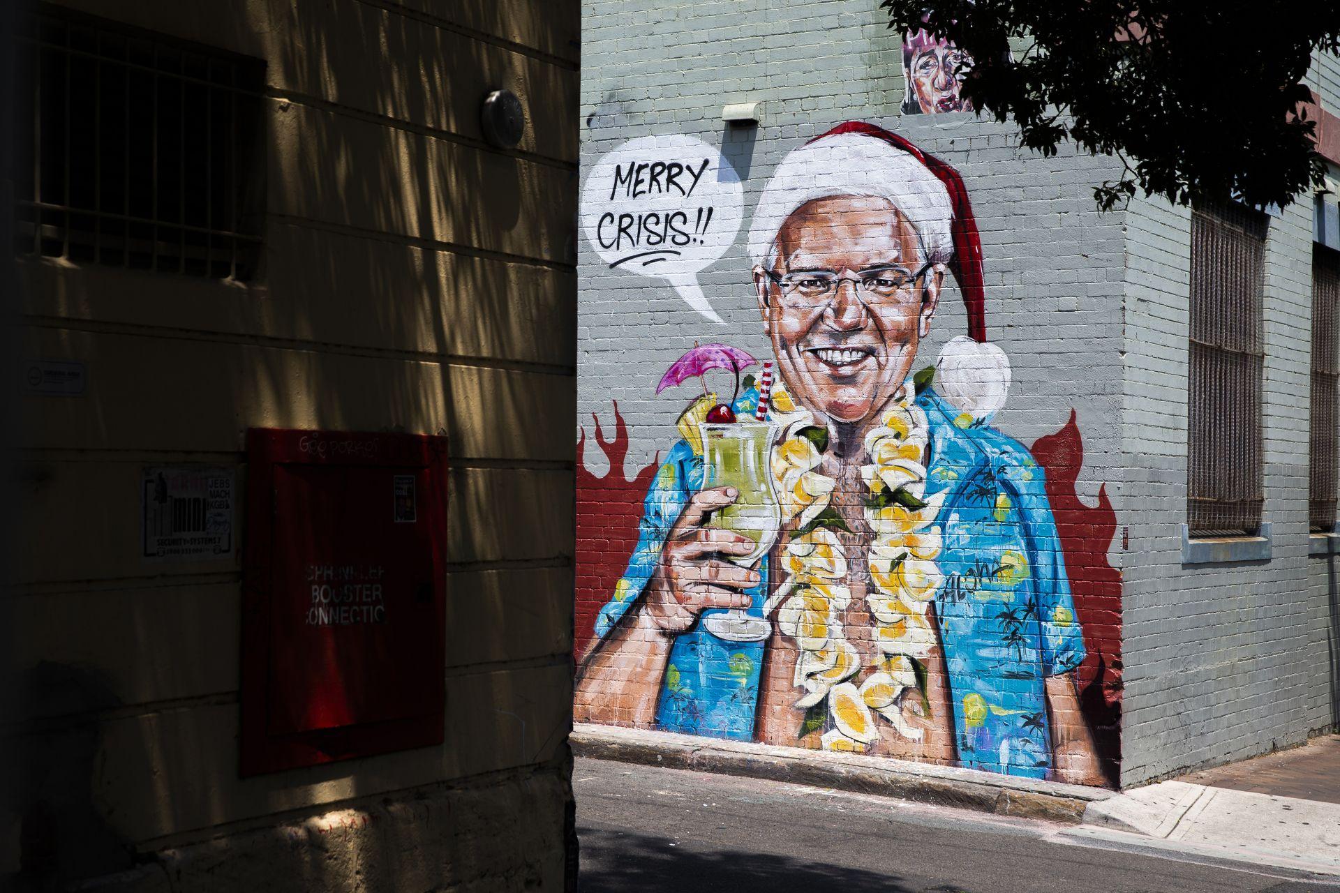 """Графит с премиера Скот Морисън и послание """"Весела Криза"""""""
