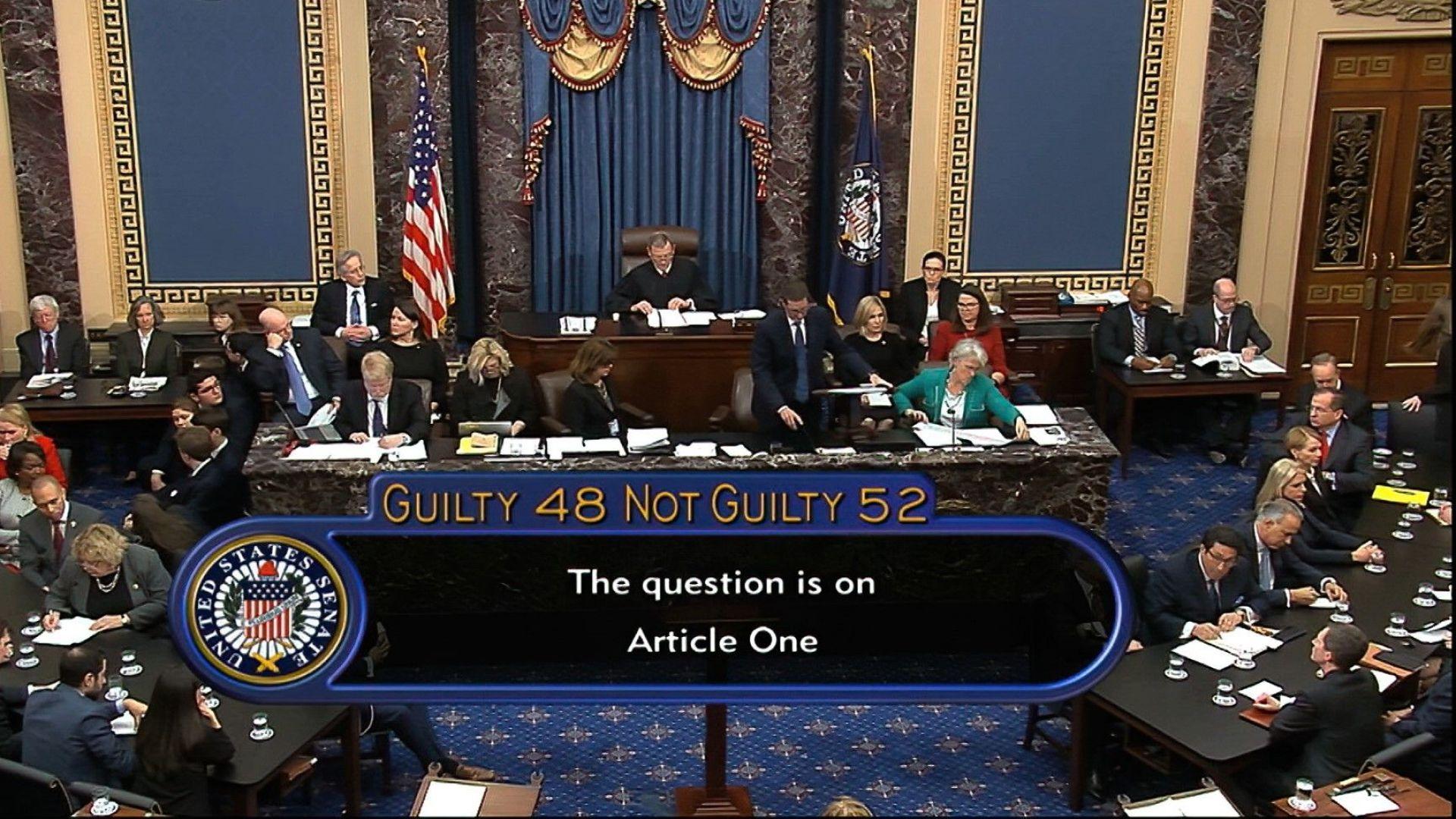 Сенатът на САЩ оправда Тръмп в процеса за импичймънт