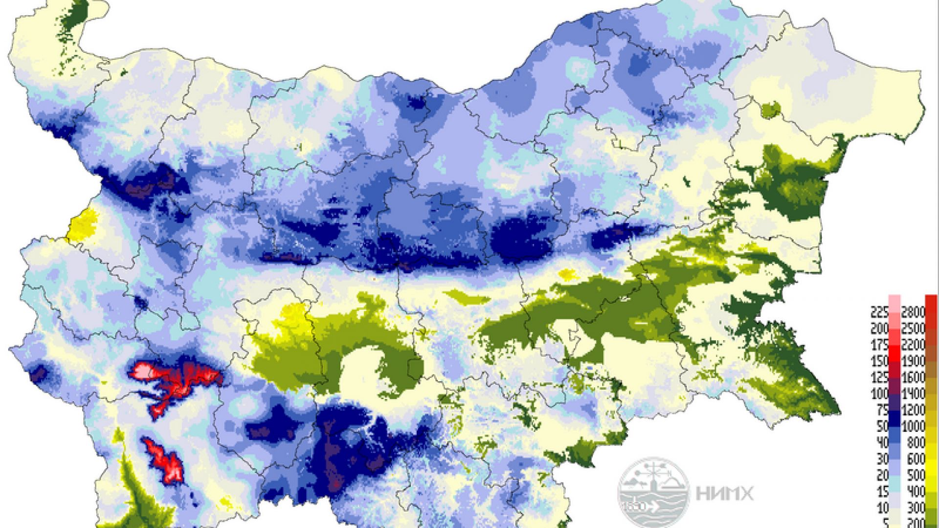Къде има най-много сняг в страната