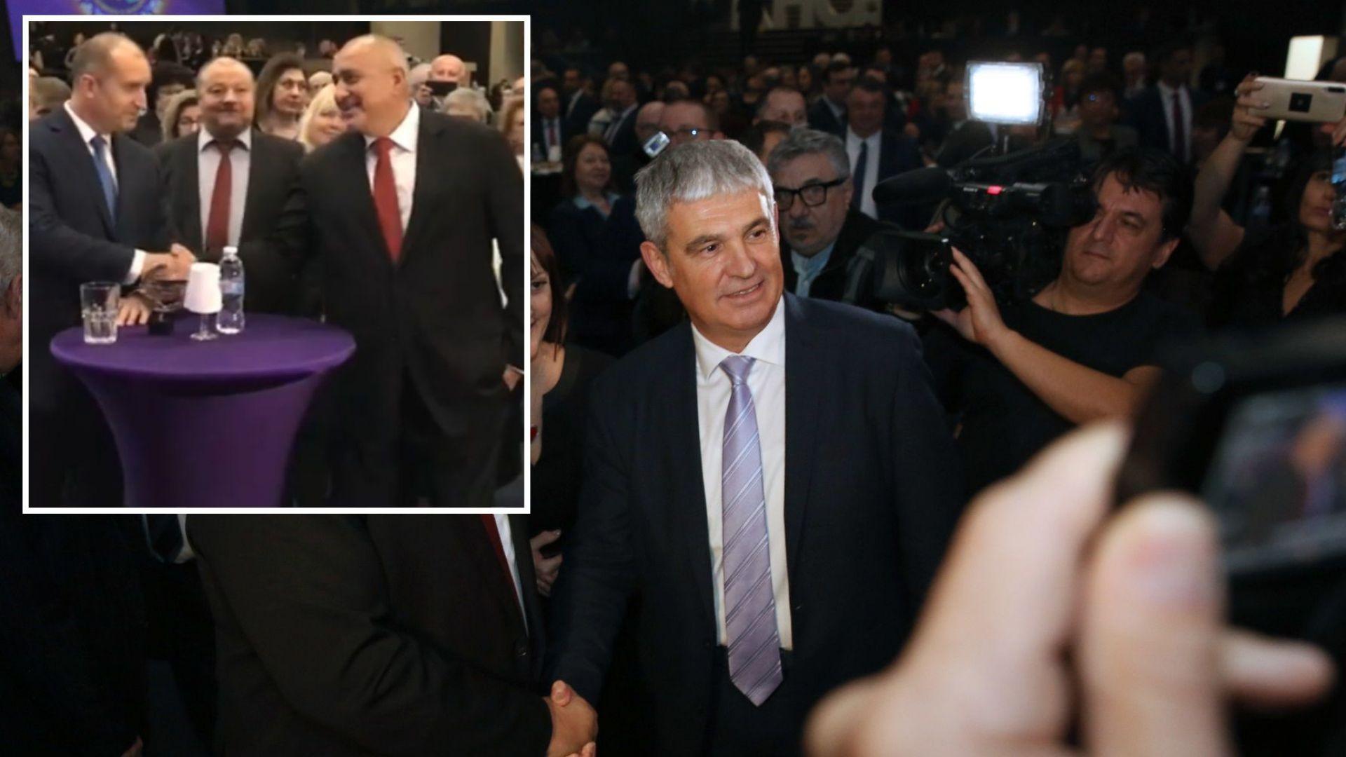 Борисов и Радев се ръкуваха на рождения ден на КНСБ (видео+снимки)