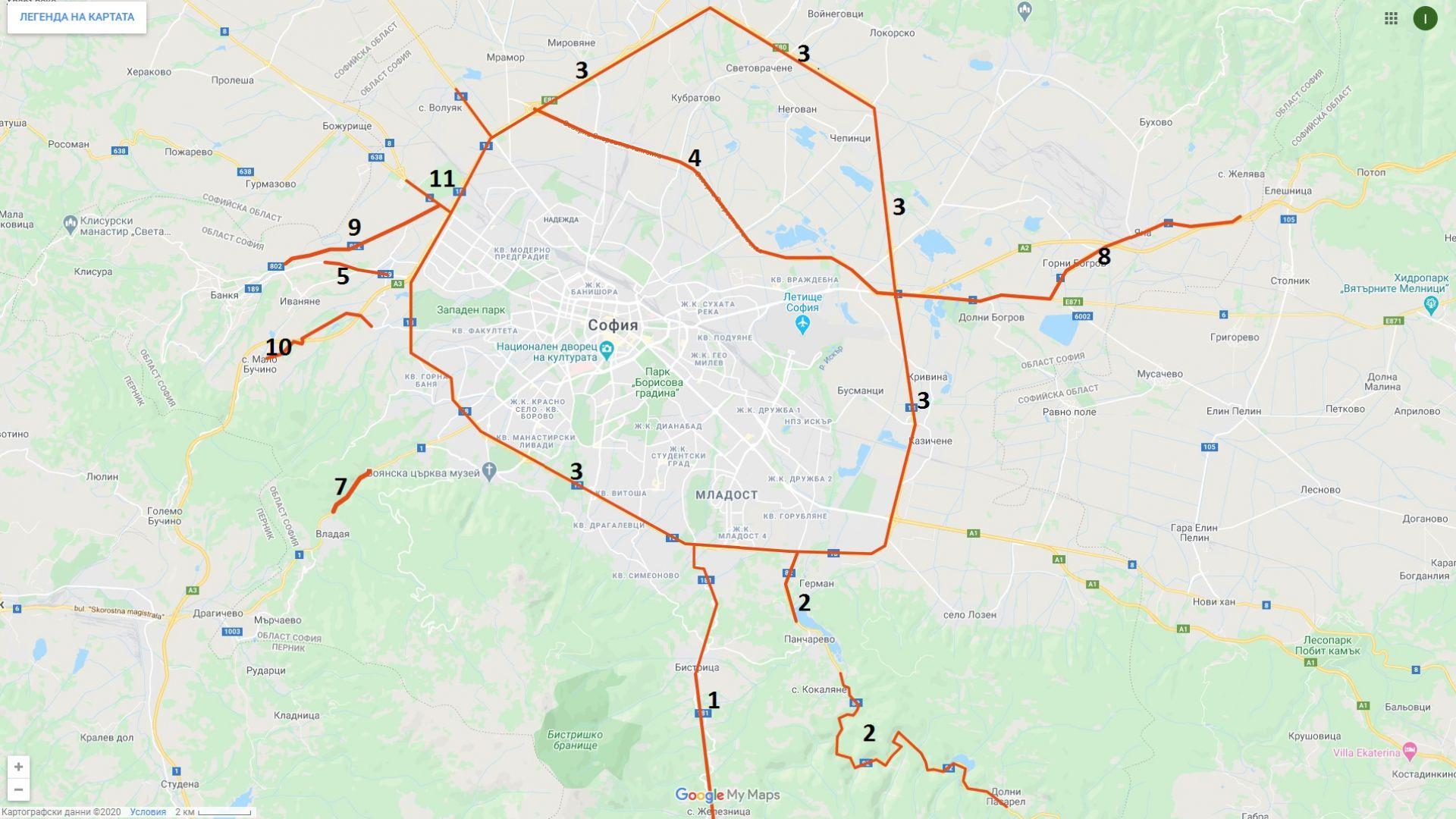 Фандъкова публикува карта на пътищата без винетка на територията на Столична община