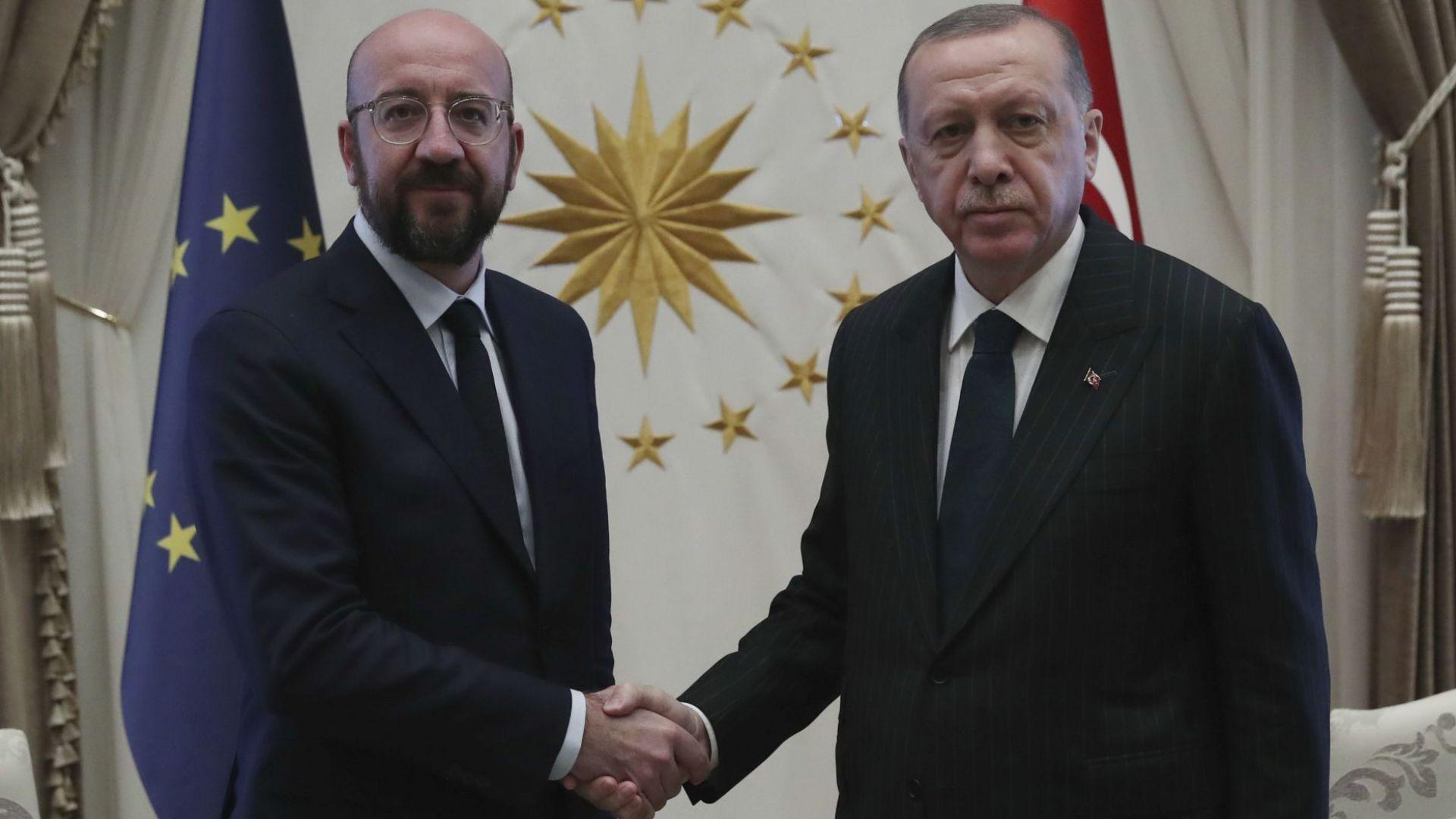 Председателят на Европейския съвет Шарл Мишел и турският президент Реджеп